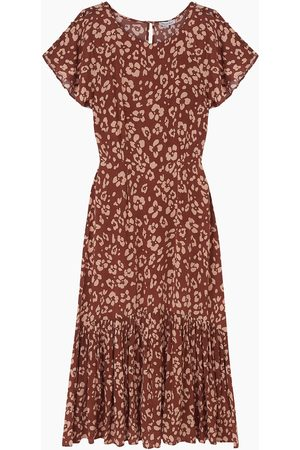 LILY AND LIONEL Women Printed Dresses - Rae Dress Floral Leopard Mahogany