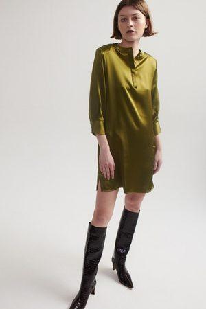 Lindsay Nicholas New York Women Casual Dresses - Silk Shirt Dress in Chartreuse