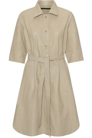 MDK / Munderingskompagniet Women Dresses - Clare Pale Khaki Thin Leather Dress