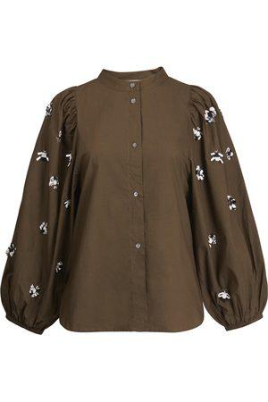 Essentiel Women Shirts - ANTWERP Zeatle Cotton Embroidered Shirt - Jungle