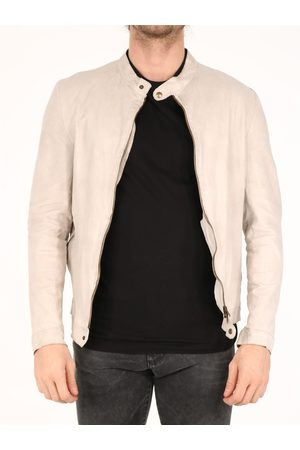 SALVATORE SANTORO Men Leather Jackets - Leather Biker jacket ivory