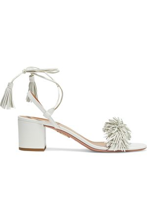 AQUAZZURA Women Sandals - Woman Wild Thing 50 Fringed Leather Sandals Size 35