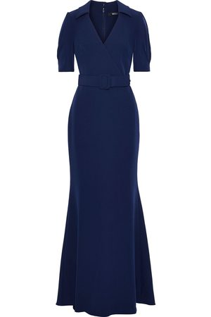 BADGLEY MISCHKA Women Evening dresses - Woman Wrap-effect Belted Stretch-crepe Gown Indigo Size 4
