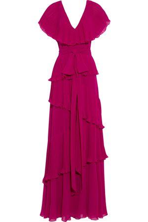 BADGLEY MISCHKA Woman Tiered Pleated Chiffon Gown Magenta Size 10