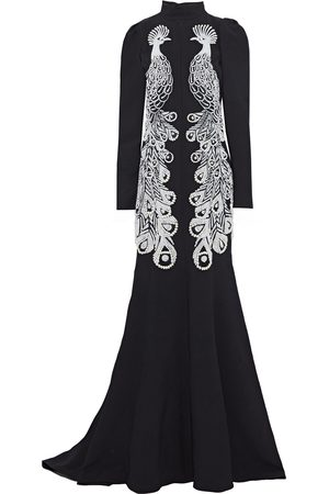 ANDREW GN Women Evening dresses - Woman Fluted Faux Pearl-embellished Cady Gown Size 40