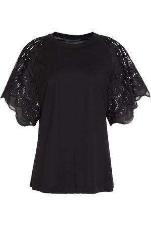 ALBERTA FERRETTI Women Short Sleeve - Woman Broderie Anglaise-paneled Cotton-jersey T-shirt Size 38
