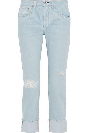 RAG & BONE Woman Rosa Cropped Distressed Boyfriend Jeans Light Denim Size 29