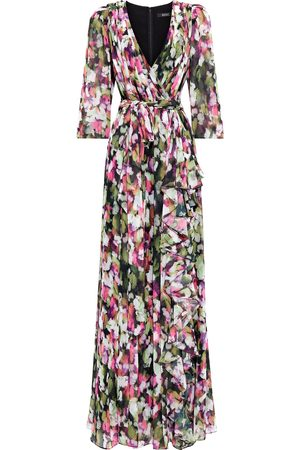 BADGLEY MISCHKA Woman Wrap-effect Pleated Printed Georgette Gown Size 10