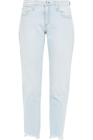RAG & BONE Women Boyfriend Jeans - Woman Dre Distressed Slim Boyfriend Jeans Light Denim Size 24