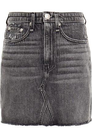 RAG & BONE Women Mini Skirts - Woman Distressed Denim Mini Skirt Charcoal Size 23