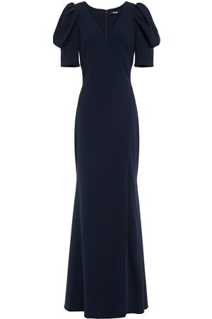 BADGLEY MISCHKA Women Evening dresses - Woman Gathered Stretch-crepe Gown Navy Size 10