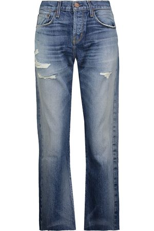 CURRENT/ELLIOTT Woman The Crossover Distressed Mid-rise Straight-leg Jeans Mid Denim Size 26