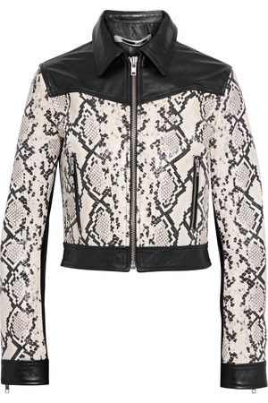 MCQ ALEXANDER MCQUEEN Woman Cropped Smooth And Snake-effect Leather Jacket Animal Print Size 40
