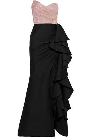 BADGLEY MISCHKA Women Strapless Dresses - Woman Strapless Glittered Twill And Ruffled Duchesse-satin Gown Size 10