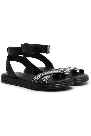 Karl Lagerfeld Kids Logo-print strap leather sandals