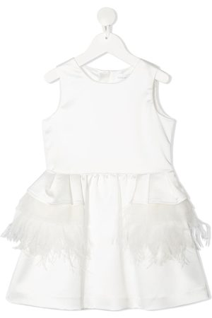 Charabia Girls Dresses - Feather applique dress