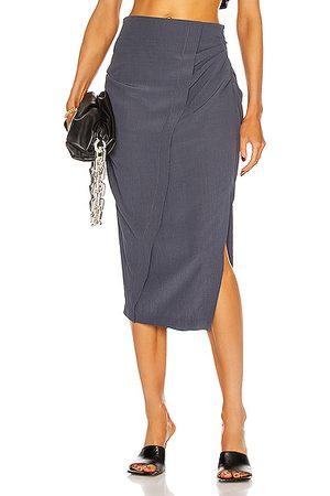 Acne Studios Ruched Midi Skirt in Slate