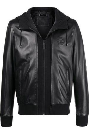 Philipp Plein Hooded leather jacket