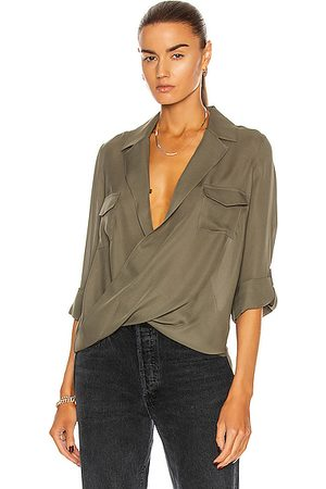 L'Agence Phoenix Front Wrap Tunic Blouse in Army