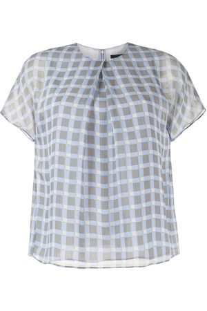 Emporio Armani Check-print short-sleeve blouse