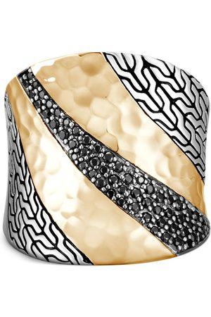 John Hardy 18kt yellow gold and silver Classic Chain saddle ring
