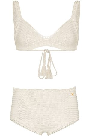 Valentino Crochet-knit cotton bikini set - Neutrals