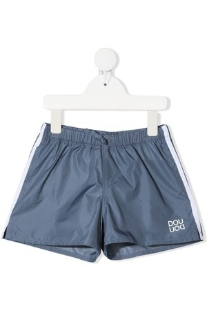 DOUUOD KIDS Logo-print swim shorts - Grey