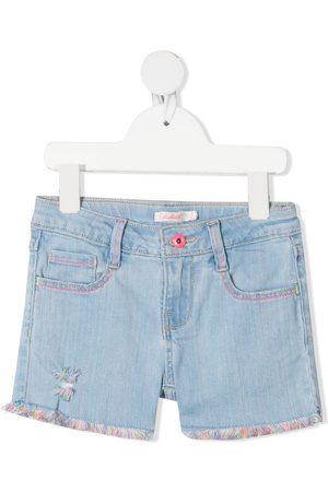 Billieblush Girls Shorts - Multicolour raw-hem denim shorts