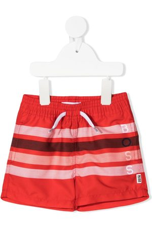 BOSS Kidswear Striped drawstring swim shorts