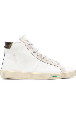 Diesel Treated leather hi-top sneakers