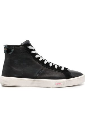 Diesel Treated leather hi-top sneakers