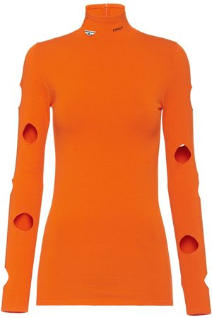 Prada Cut-out detailing high-neck jumper