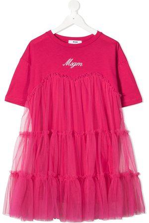 MSGM Logo-print tulle dress