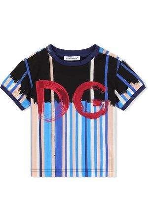 Dolce & Gabbana Kids Vertical-stripe logo-print T-shirt