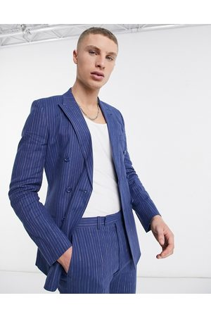 ASOS DESIGN Super skinny double breasted cotton linen pinstripe suit jacket in blue-Blues