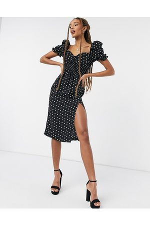 In The Style X Shaughna puff sleeve sweetheart neck midi dress in polka print-Multi