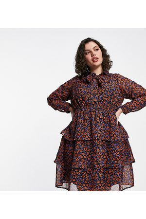 Yours Tiered pussybow tunic mini dress in floral