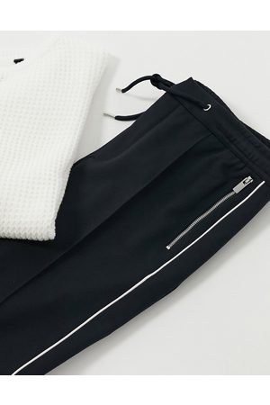 River Island Smart sweatpants with side stripe in navy