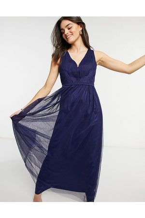 Little Mistress Bridesmaid cut out back maxi dress in navy