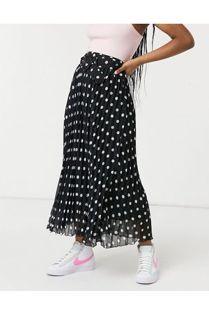 Style Cheat Belted pleated midi skirt in black-Multi