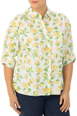 Foxcroft Plus Lemon Luv Printed Shirt