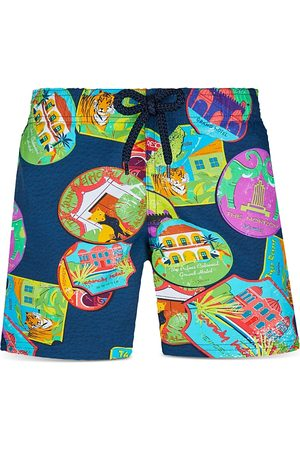 Vilebrequin Boys' Jirise Travel Print Swim Trunks - Little Kid, Big Kid