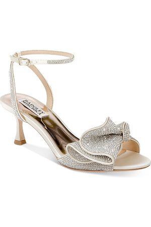 Badgley Mischka Women's Remi Almond Toe Rhinestone Ruffle Mid Heel Sandals