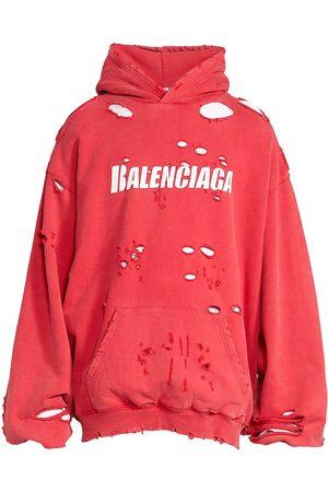 Balenciaga Men's Destroyed Logo Hoodie - Raspberry - Size XXL