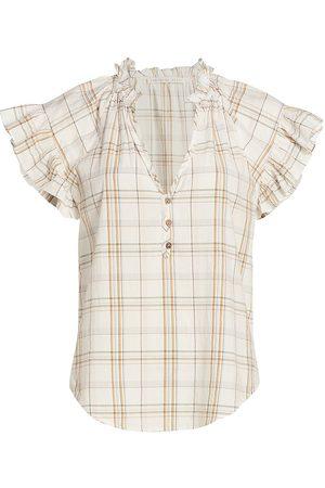 VERONICA BEARD Women's Milly Plaid Short-Sleeve Shirt - Size Large