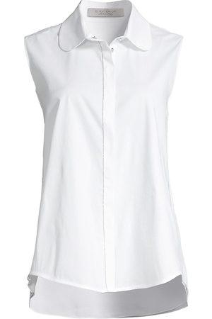 D.EXTERIOR Women's Stretch Poplin & Georgette Back Sleeveless Shirt - - Size Medium