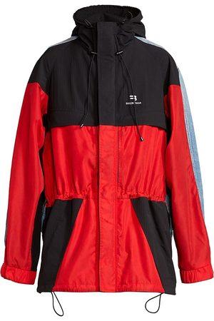 Balenciaga Men's Hybrid Colorblock Parka Denim Jacket - Bright - Size Small
