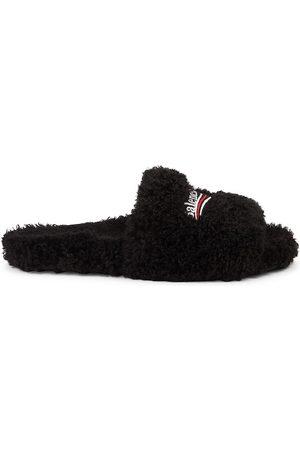 Balenciaga Men's Furry Faux Fur Slides - - Size 10 Sandals