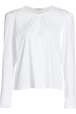 Derek Lam Women's Kary Long Puff-Sleeve T-Shirt - Optic - Size Small