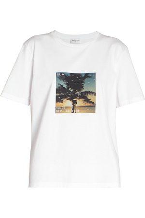 Saint Laurent Women's Graphic Palm T-Shirt - Naturel - Size XS